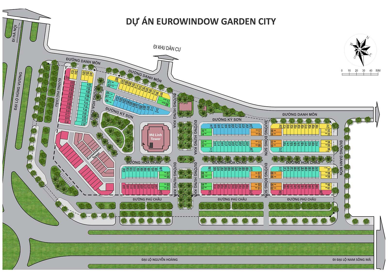 Mặt bằng chia lô nhà phố thương mại eurowindow garden city