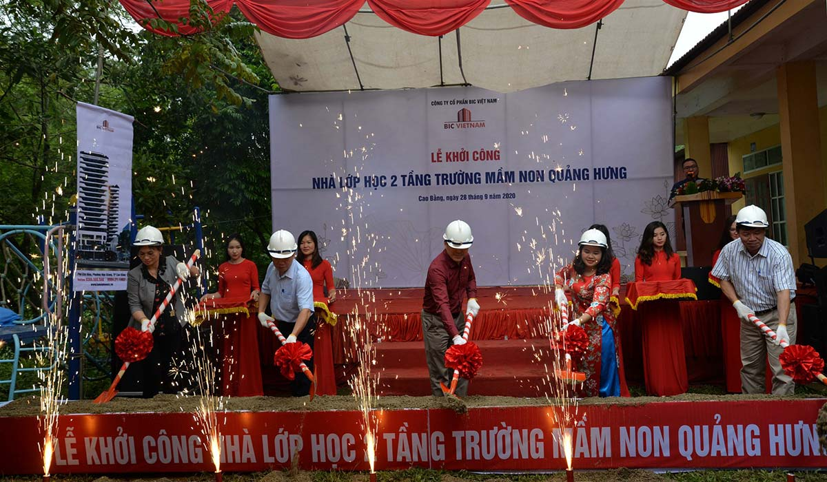 BIC Việt Nam tài trợ xây dựng Điểm trường Mầm non Quảng Hưng