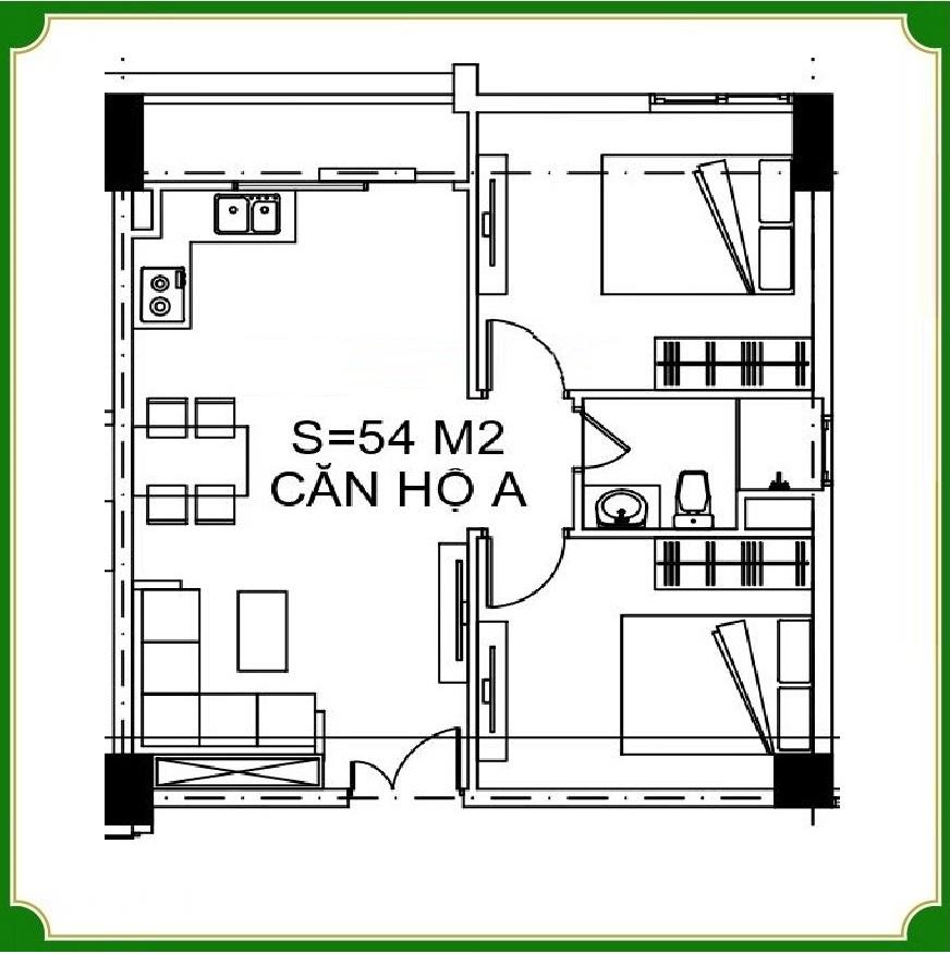 Udic Eco Tower Hạ Đình diện ích 54 m2 với 2 phòng ngủ