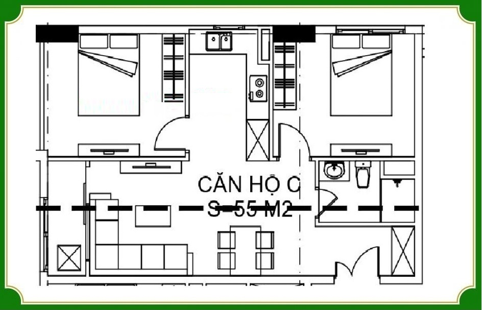 Udic Eco Tower Hạ Đình diện ích 55 m2 với 2 phòng ngủ