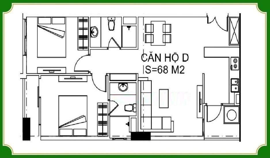 Udic Eco Tower Hạ Đình diện ích 68 m2 với 2 phòng ngủ
