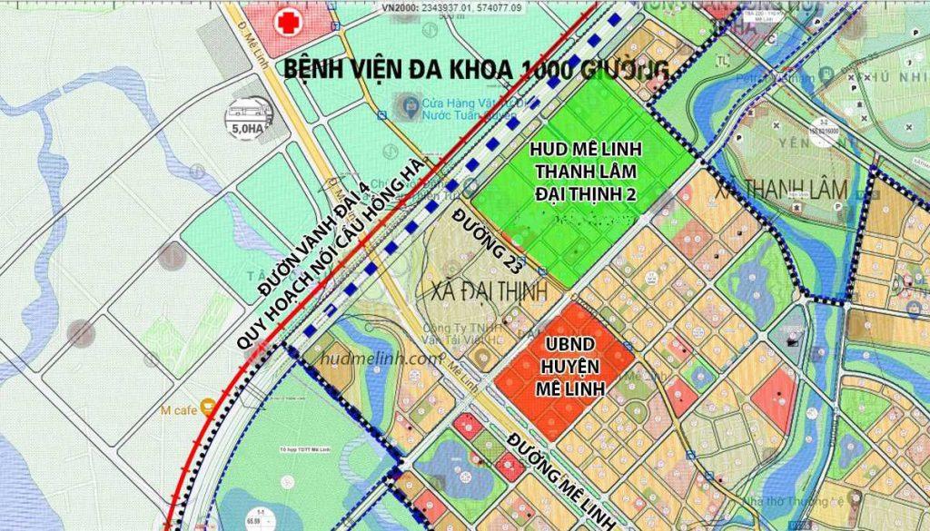 Vị trí dự án Hud Mê Linh