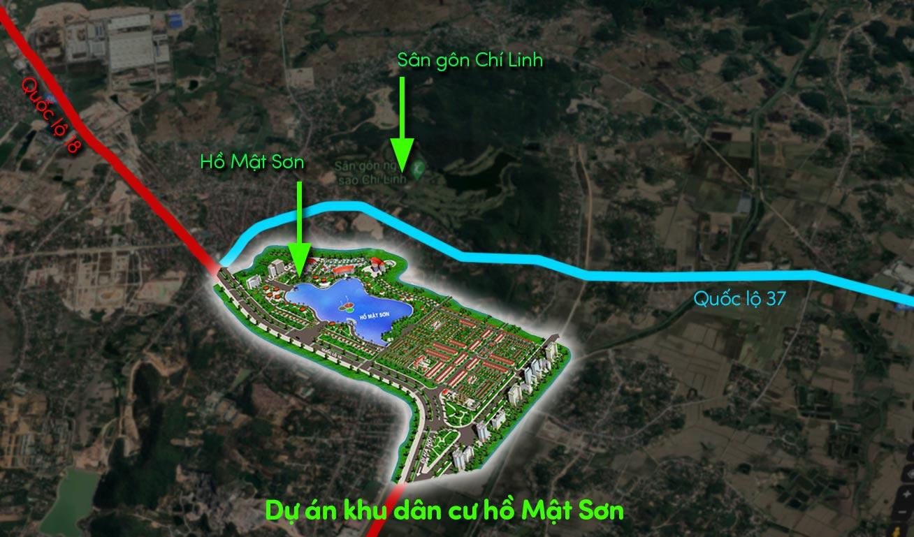 Vị trí dự án Hồ Mật Sơn. Chí Linh, Hải Dương
